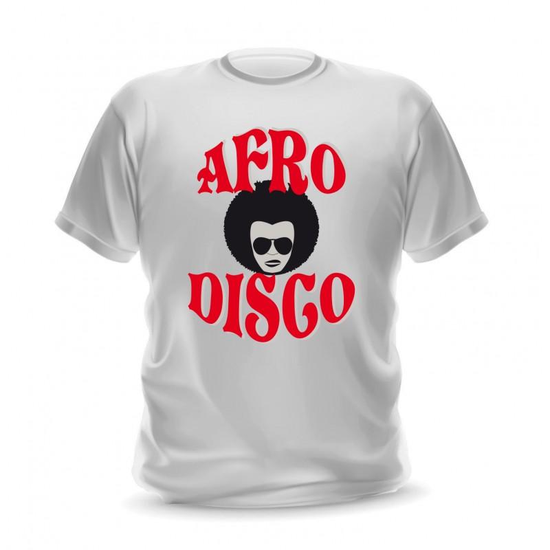 T-shirt blanc pour homme afro disco
