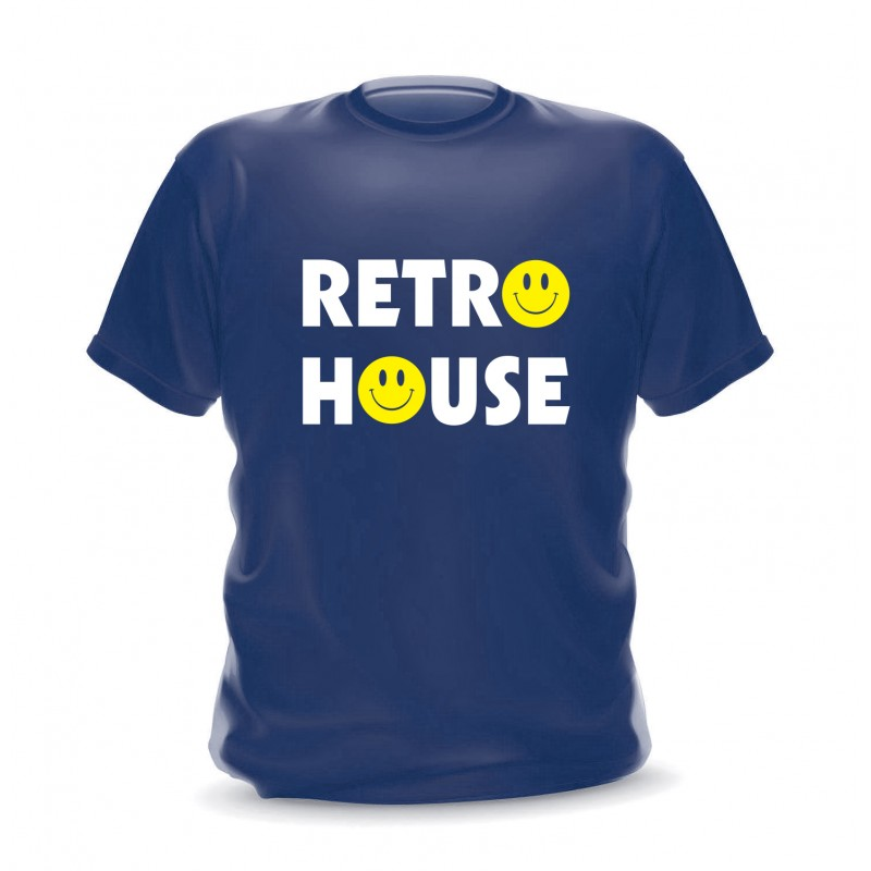 T-shirt navy retro house