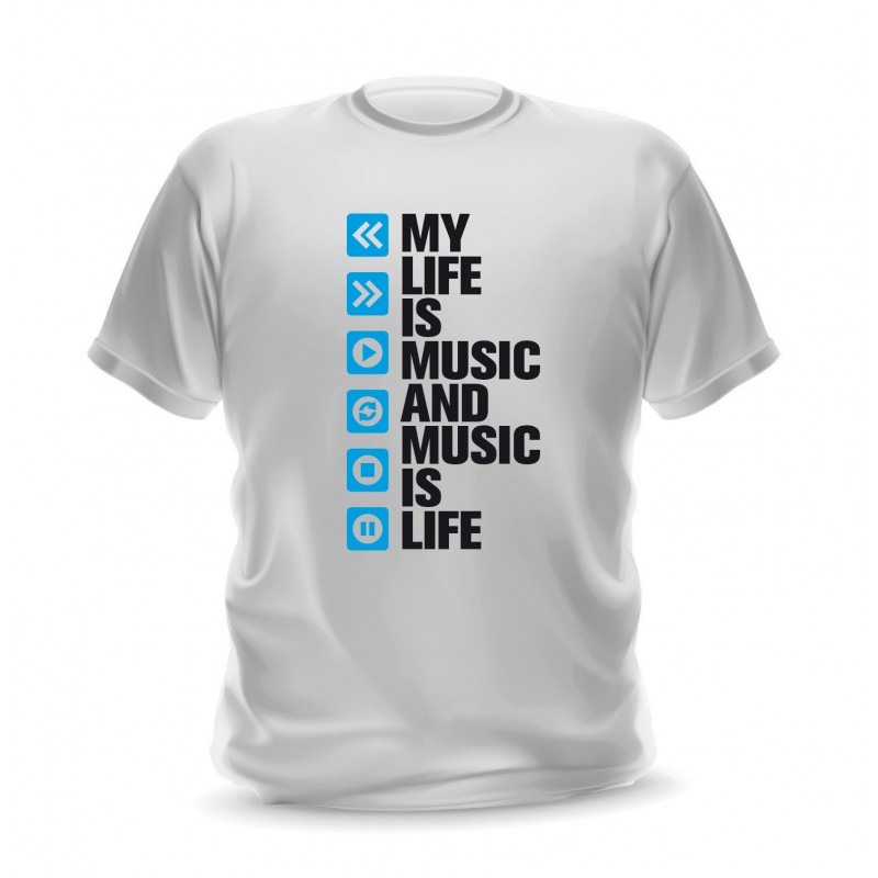 T-shirt blanc pour homme my life is music