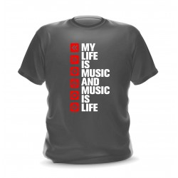 t-shirt gris pour homme my life is music