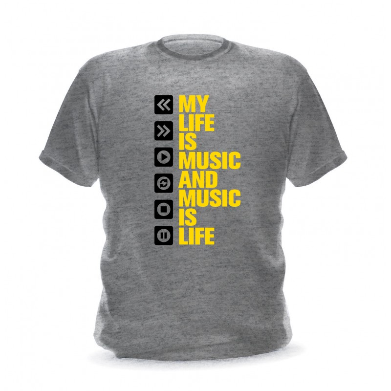 t-shirt gris chiné pour homme my life is music