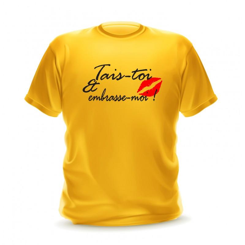T-shirt gold pour homme avec phrase tais-toi et embrasse-moi