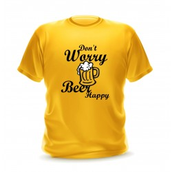 T-shirt gold homme avec phrase don't worry beer happy