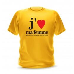 T-shirt homme jaune phrase j'aime ma femme quand elle me laisse faire du vélo