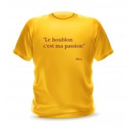 """T-shirt homme jaune citation """"Le houblon c'est ma passion"""""""