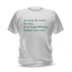 T-shirt blanc homme citation Saint whisky