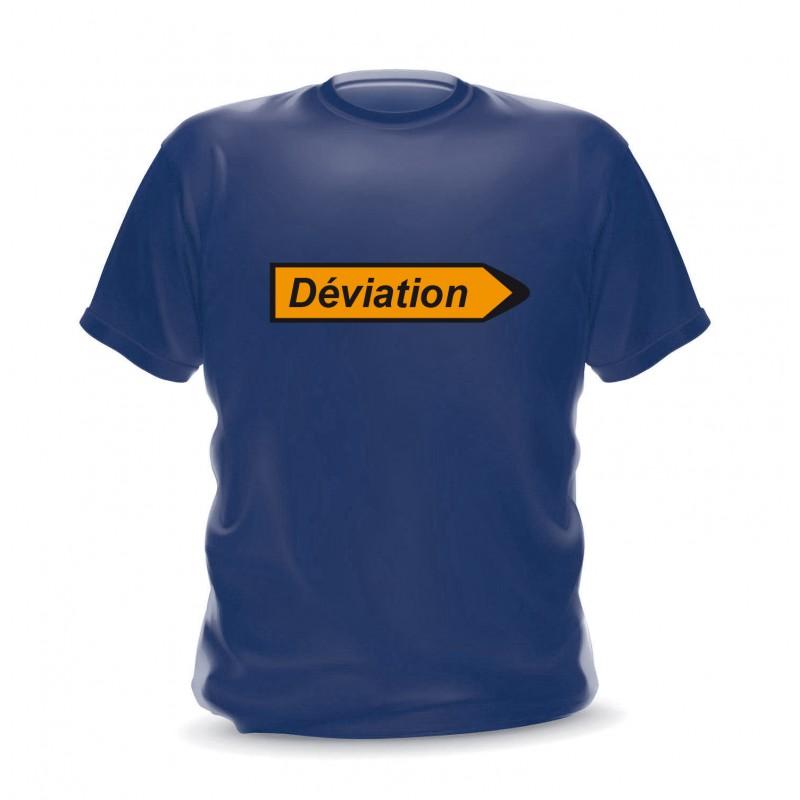 T-shirt navy homme imprimé panneau déviation