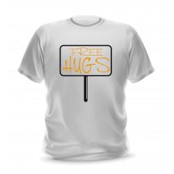 T-shirt blanc homme imprimé free hugs