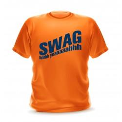 T-shirt orange homme imprimé swag