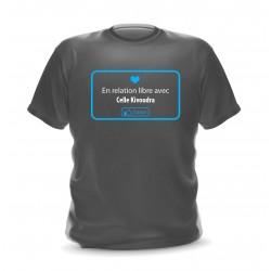 T-shirt gris foncé homme imprimé en relation libre avec celle qui voudra