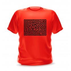 T-shirt rouge Homme motif labyrinthe