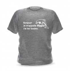 T-shirt  gris chiné homme Imprimé Flipper