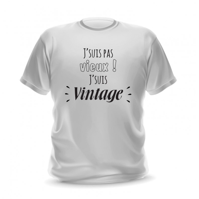 T-shirt blanc homme imprimé Je ne suis pas vieux je suis vintage
