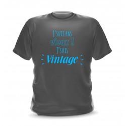 T-shirt gris foncé homme imprimé Je ne suis pas vieux je suis vintage