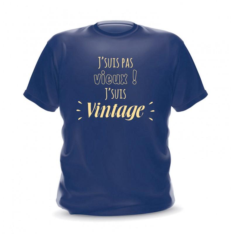 T-shirt navy homme imprimé Je ne suis pas vieux je suis vintage