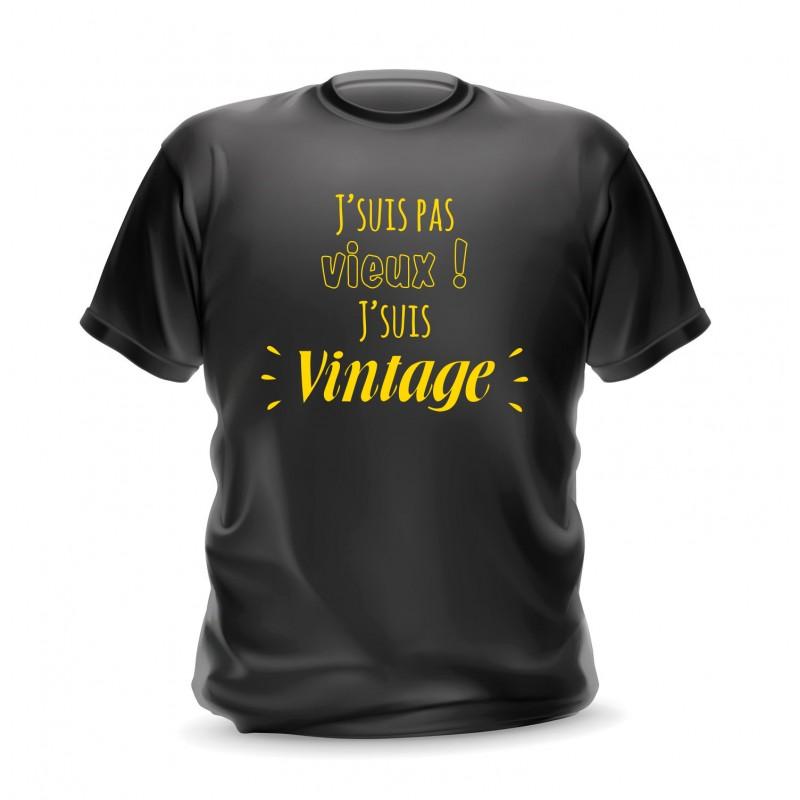 T-shirt noir homme imprimé Je ne suis pas vieux je suis vintage
