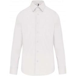 Chemise blanche coton/élasthanne manches longues pour homme