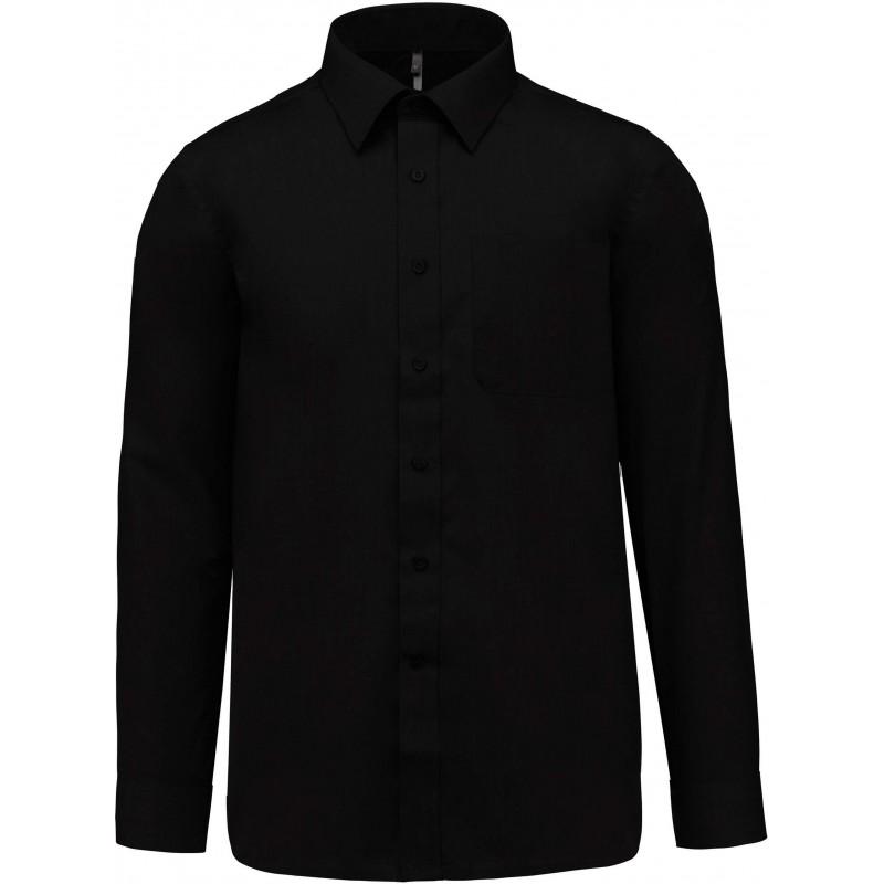 Chemise noire manches longues pour homme