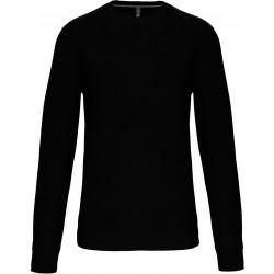 Sweat-shirt noir col rond unisexe