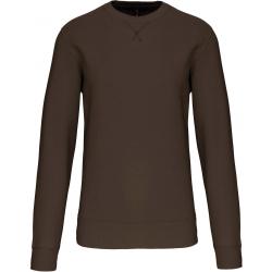 Sweat-shirt dark khaki col rond unisexe