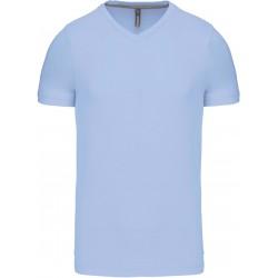 T-shirt col V manches courtes bleu clair pour homme