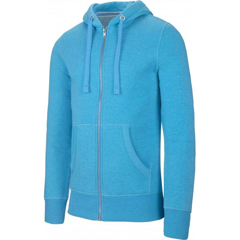 """Sweat-shirt zippé capuche """"mélange"""" homme tropical blue"""
