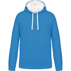 Sweat-shirt capuche contrastée homme tropical blue/blanc