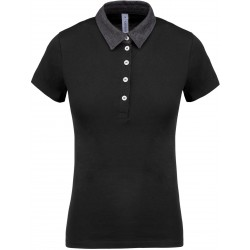 Polo jersey bicolore femme noir et gris foncé