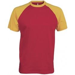 t-shirt base ball bicolore manches courtes rouge et jaune