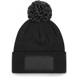 Bonnet à pompon patch snowstar noir