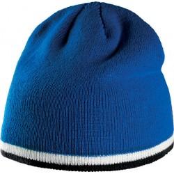 Bonnet bleu avec bande bicolore blanche et noire