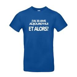 T-shirt homme pour anniversaire avec âge personnalisable bleu roi.