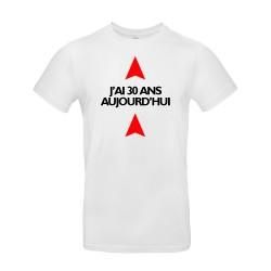 T-shirt homme pour anniversaire avec âge personnalisable blanc.