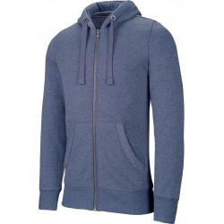 sweat zippé bleu chiné pour homme
