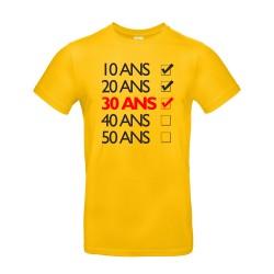 T-shirt homme pour anniversaire avec cases jaune