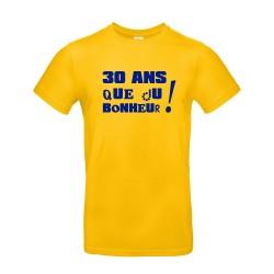 T-shirt homme pour anniversaire avec âge personnalisable jaune