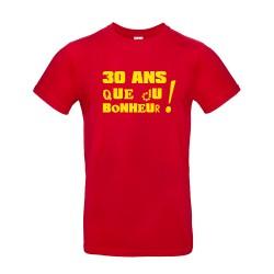 T-shirt homme pour anniversaire avec âge personnalisable rouge
