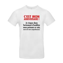 T-shirt homme pour anniversaire avec citation blanc