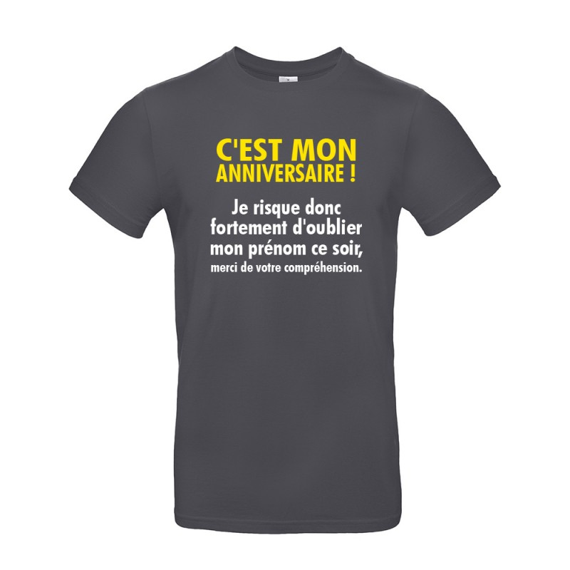 T-shirt homme pour anniversaire avec citation gris foncé
