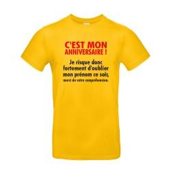 T-shirt homme pour anniversaire avec citation jaune