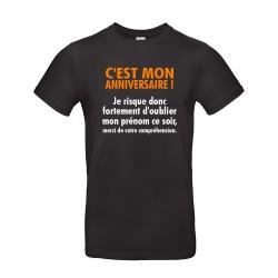 T-shirt homme pour anniversaire avec citation noir