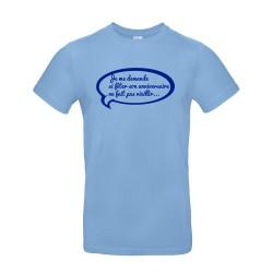 T-shirt homme pour anniversaire avec citation humoristique bleu ciel